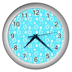 Record Blue Dj Music Note Club Wall Clocks (silver)  by Mariart