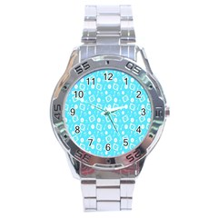 Record Blue Dj Music Note Club Stainless Steel Analogue Watch