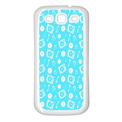 Record Blue Dj Music Note Club Samsung Galaxy S3 Back Case (white) by Mariart