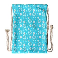 Record Blue Dj Music Note Club Drawstring Bag (large) by Mariart
