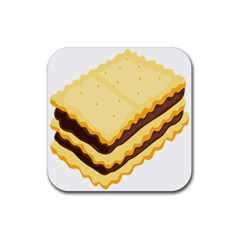 Sandwich Biscuit Chocolate Bread Rubber Square Coaster (4 Pack)  by Mariart