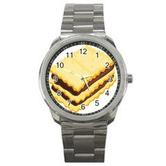 Sandwich Biscuit Chocolate Bread Sport Metal Watch by Mariart