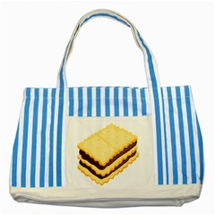 Sandwich Biscuit Chocolate Bread Striped Blue Tote Bag by Mariart