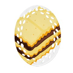 Sandwich Biscuit Chocolate Bread Ornament (oval Filigree) by Mariart