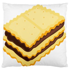 Sandwich Biscuit Chocolate Bread Large Flano Cushion Case (one Side) by Mariart