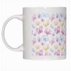 Pretty Colorful Butterflies White Mugs