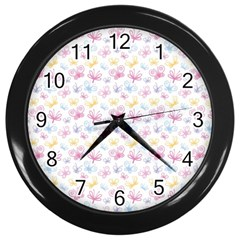 Pretty Colorful Butterflies Wall Clocks (black) by tarastyle