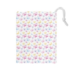 Pretty Colorful Butterflies Drawstring Pouches (large)