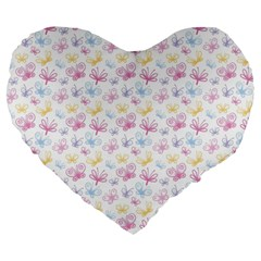 Pretty Colorful Butterflies Large 19  Premium Flano Heart Shape Cushions