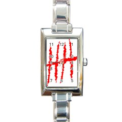 Scratches Claw Red White H Rectangle Italian Charm Watch by Mariart