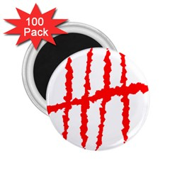 Scratches Claw Red White H 2 25  Magnets (100 Pack)  by Mariart