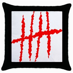 Scratches Claw Red White H Throw Pillow Case (black) by Mariart
