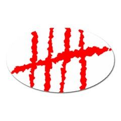 Scratches Claw Red White H Oval Magnet by Mariart