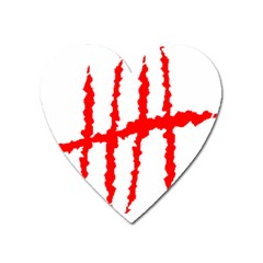 Scratches Claw Red White H Heart Magnet by Mariart