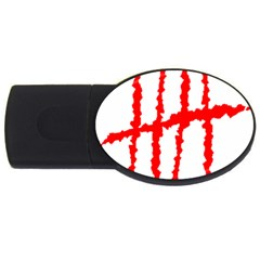 Scratches Claw Red White H Usb Flash Drive Oval (4 Gb) by Mariart