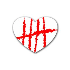 Scratches Claw Red White H Heart Coaster (4 Pack)  by Mariart