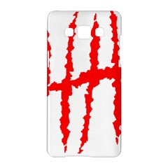 Scratches Claw Red White H Samsung Galaxy A5 Hardshell Case  by Mariart