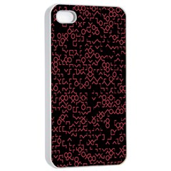 Random Red Black Apple Iphone 4/4s Seamless Case (white) by Mariart