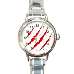 Scratches Claw Red White Round Italian Charm Watch by Mariart