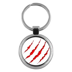 Scratches Claw Red White Key Chains (round)  by Mariart