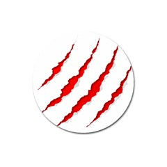 Scratches Claw Red White Magnet 3  (round) by Mariart