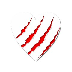 Scratches Claw Red White Heart Magnet by Mariart