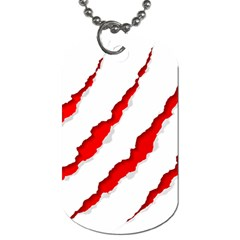 Scratches Claw Red White Dog Tag (one Side) by Mariart