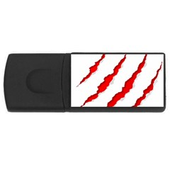 Scratches Claw Red White Usb Flash Drive Rectangular (4 Gb) by Mariart