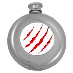Scratches Claw Red White Round Hip Flask (5 Oz) by Mariart