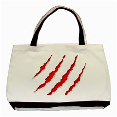 Scratches Claw Red White Basic Tote Bag (two Sides) by Mariart
