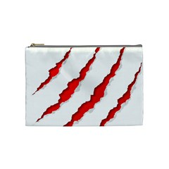 Scratches Claw Red White Cosmetic Bag (medium)  by Mariart