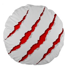 Scratches Claw Red White Large 18  Premium Round Cushions by Mariart