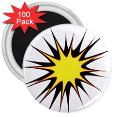 Spot Star Yellow Black White 3  Magnets (100 Pack) by Mariart