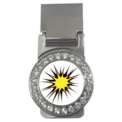 Spot Star Yellow Black White Money Clips (cz)  by Mariart