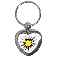 Spot Star Yellow Black White Key Chains (heart)  by Mariart