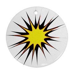 Spot Star Yellow Black White Round Ornament (two Sides) by Mariart