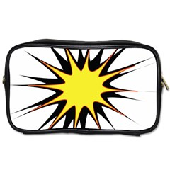 Spot Star Yellow Black White Toiletries Bags by Mariart