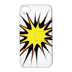 Spot Star Yellow Black White Apple Iphone 4/4s Hardshell Case With Stand by Mariart