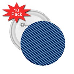 Striped  Line Blue 2 25  Buttons (10 Pack)