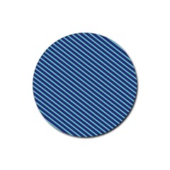 Striped  Line Blue Rubber Coaster (round)  by Mariart