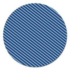 Striped  Line Blue Magnet 5  (round) by Mariart