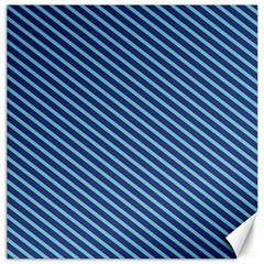 Striped  Line Blue Canvas 16  X 16   by Mariart