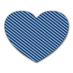 Striped  Line Blue Heart Mousepads by Mariart