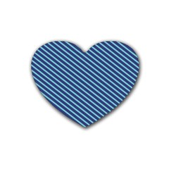 Striped  Line Blue Rubber Coaster (heart)  by Mariart