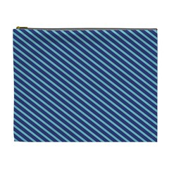 Striped  Line Blue Cosmetic Bag (xl) by Mariart