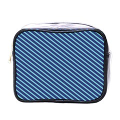 Striped  Line Blue Mini Toiletries Bags by Mariart