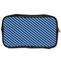Striped  Line Blue Toiletries Bags by Mariart