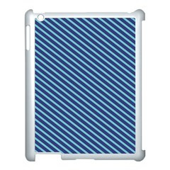 Striped  Line Blue Apple Ipad 3/4 Case (white) by Mariart
