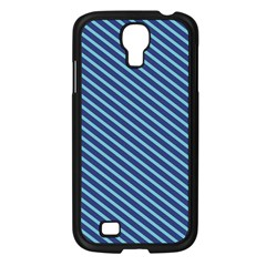 Striped  Line Blue Samsung Galaxy S4 I9500/ I9505 Case (black) by Mariart