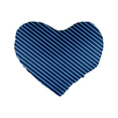 Striped  Line Blue Standard 16  Premium Flano Heart Shape Cushions by Mariart